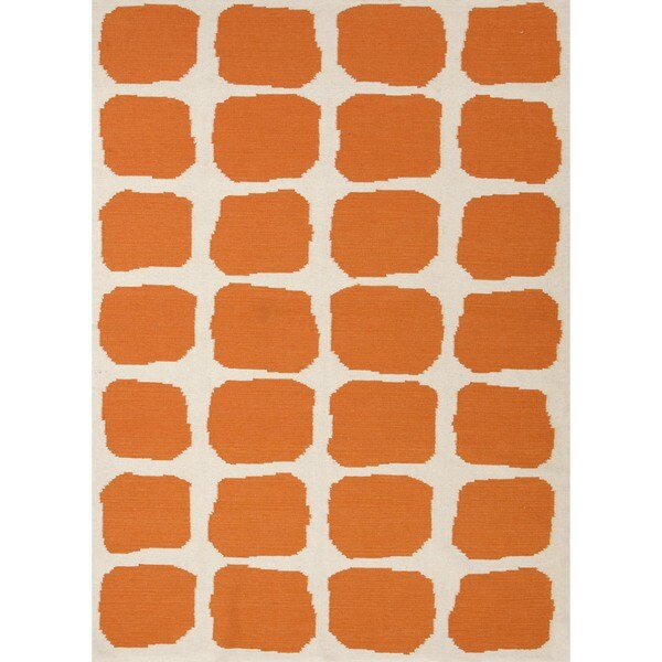 Flat Weave Abstract Red/ Orange Wool Rug (2' x 3')