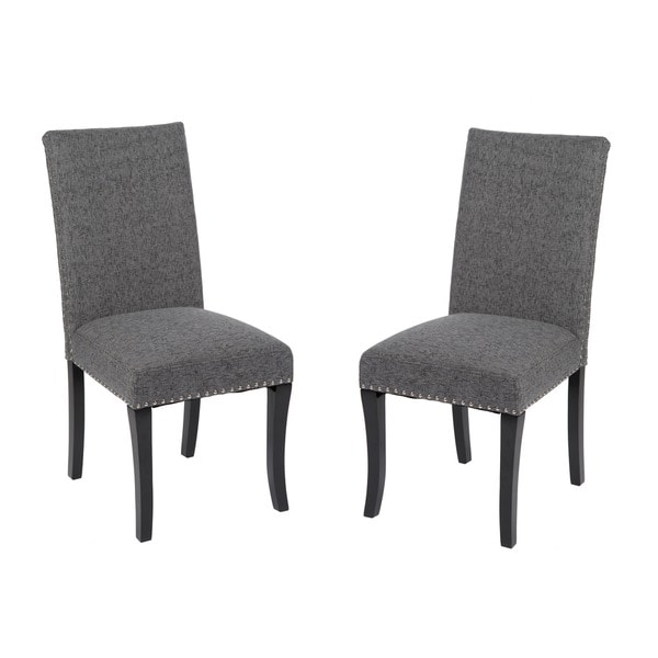 Charcoal Grey Nailhead Accented Dining Chairs (Set Of 2)