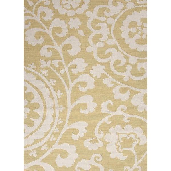 Flat Weave Floral Green Wool Rug (9' x 12')