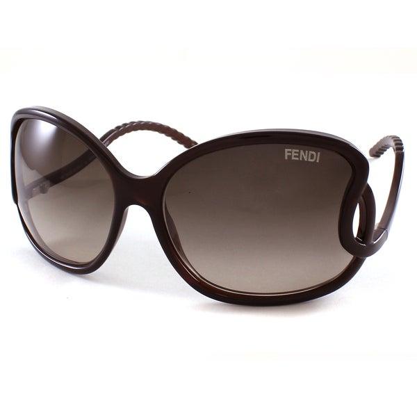 Fendi Women's FS5177 207 Brown Round Plastic Sunglasses