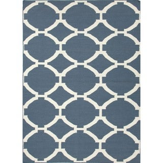 Geometric Wool Flat-Weave Blue Runner