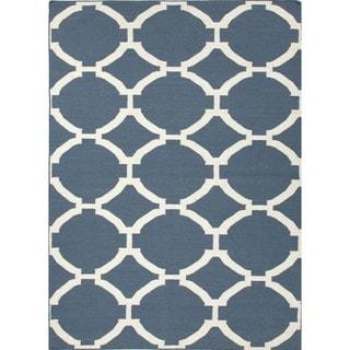 Denim-Blue Flat-weave Geometric Wool Area Rug (8' x 10')