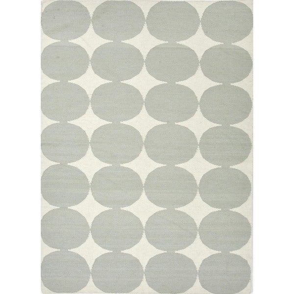 Flat-Weave Contemporary Geometric Blue Wool Rug (9' x 12')