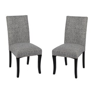 Armen Living Deborah Ash Grey Nailhead Accented Dining Chairs (Set of 2)