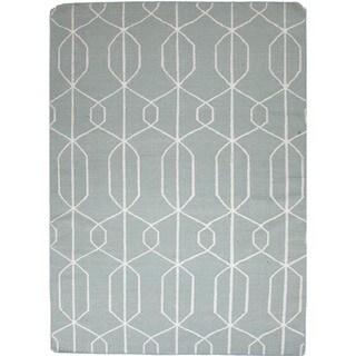 Needlepoint Block Print Flat Weave Reversible Wool Area