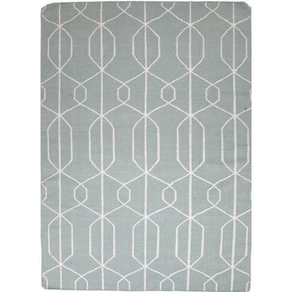 Light Turquoise Flat Weave Geometric Blue Wool Rug (5' x 8')