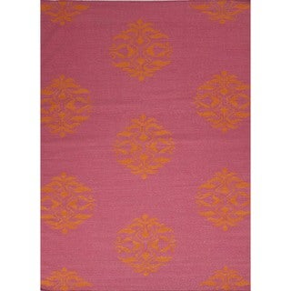 Flat Weave Moroccan Pink Wool Rug (8' x 10')