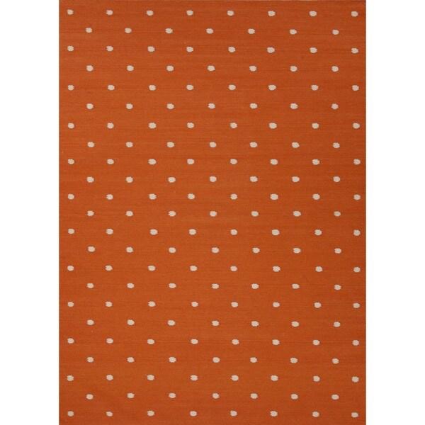 Flat Weave Geometric Orange Wool Rug (5' x 8')