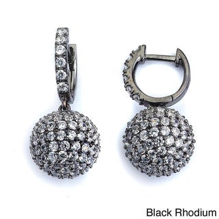Sterling Silver Cubic Zirconium Round Dangle Earrings