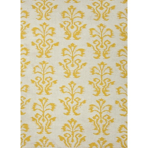 Flat Weave Floral Gold/ Yellow Wool Rug (5' x 8')