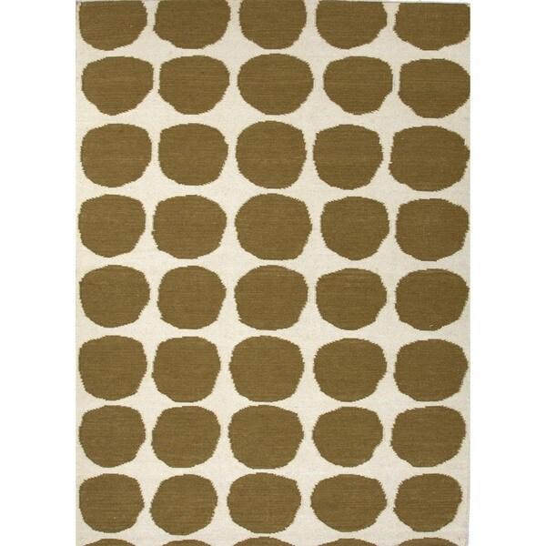 Flat Weave Geometric Green Wool Rug (3'6 x 5'6)