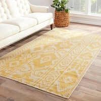 Safi Handmade Ikat Yellow/ Cream Area Rug (9' X 12') - 9' x 12'