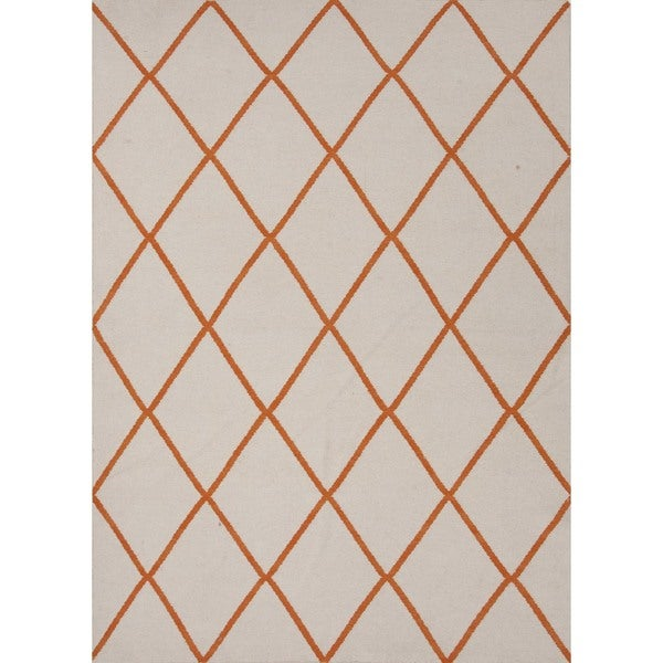 Flat Weave Red/ Orange Wool Runner (2'6 x 8')