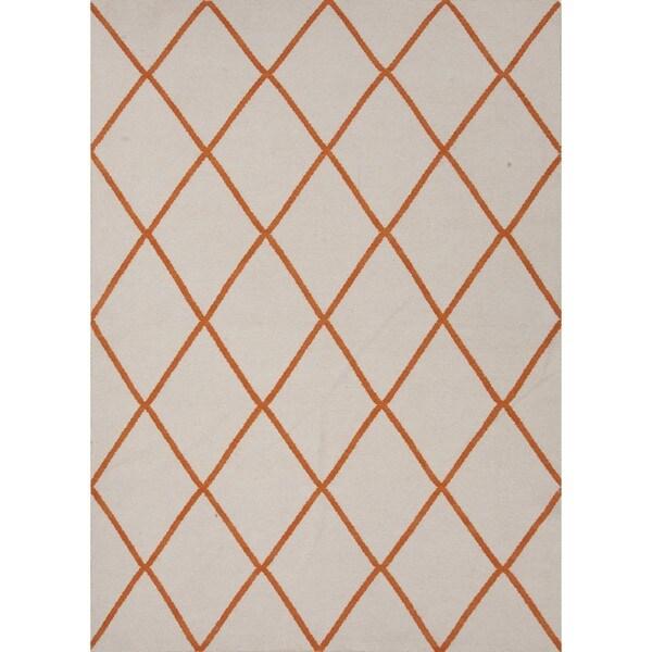 Rectangular Flat Weave Geometric Red/ Orange Wool Rug (9' x 12')