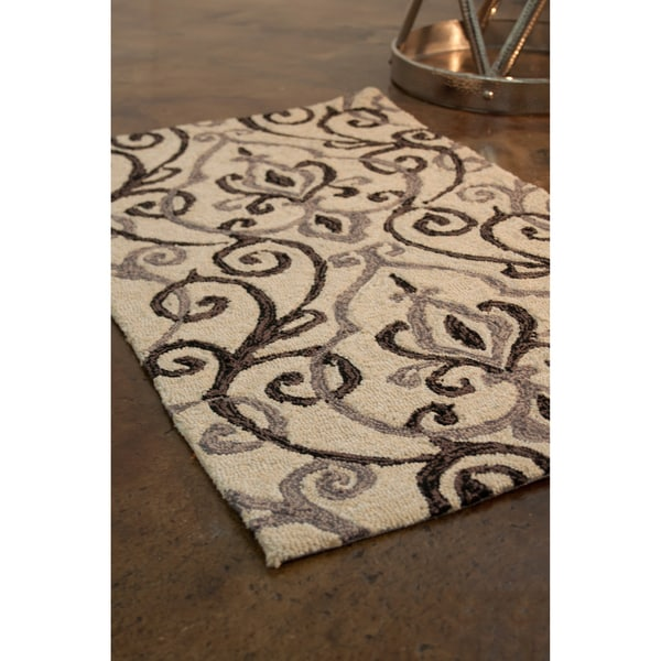 Hand-hooked Charlotte Ivory/ Grey Rug (2'3 x 3'9)