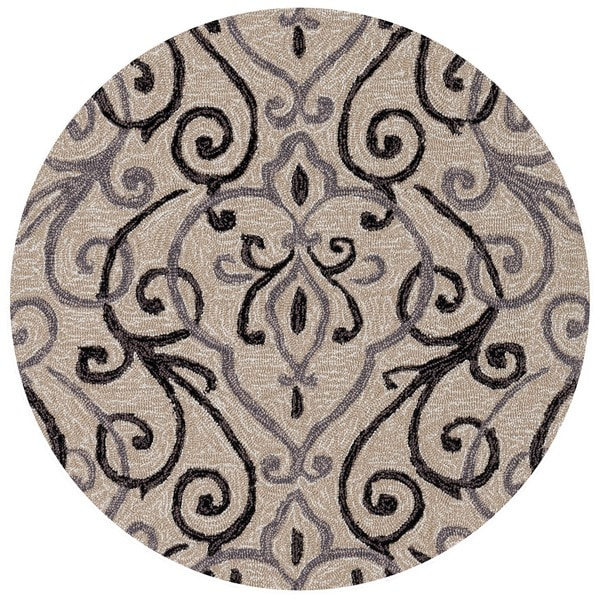Shop Hand Hooked Ivory Grey Scroll Round Area Rug 3 X