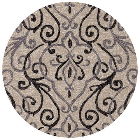 Hand-hooked Ivory/ Grey Scroll Round Area Rug - 3' x 3' Round