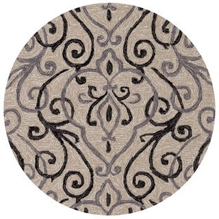 Hand-hooked Ivory/ Grey Scroll Round Area Rug - 3' x 3'