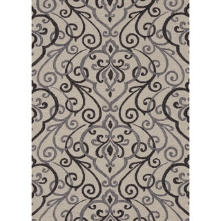 Hand-hooked Charlotte Ivory/ Grey Rug (3'6 x 5'6)