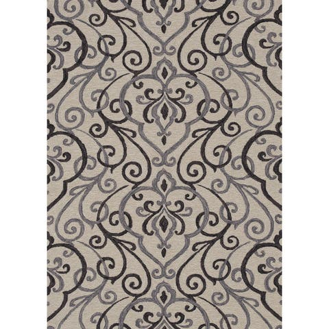 Hand-hooked Charlotte Ivory/ Grey Rug (5'0 x 7'6) - 5' x 7'6