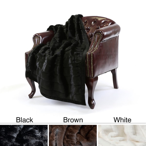 Aurora Home Mink Faux Fur 54 x 36 Lap Throw
