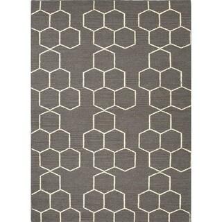 Alliyah Geometric 3d Cubes Aluminum Grey Wool Handmade Rug