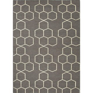 Handmade Flat Weave Geometric Gray Wool Rug (5' x 8')
