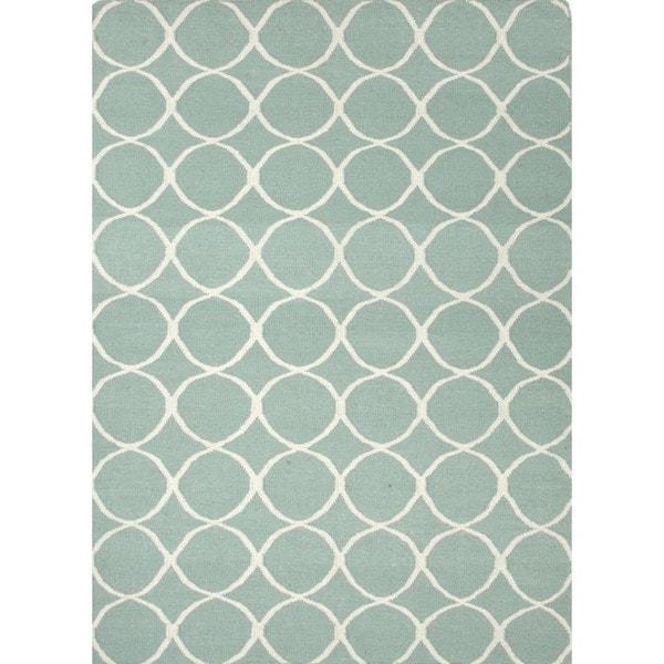 Handmade Flat Weave Geometric Blue Wool Rug (3'6 x 5'6)
