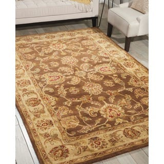 Nourison Hand-tufted Jaipur Chocolate Wool Rug (Option: Round)|https://ak1.ostkcdn.com/images/products/7536835/P14972507.jpg?impolicy=medium