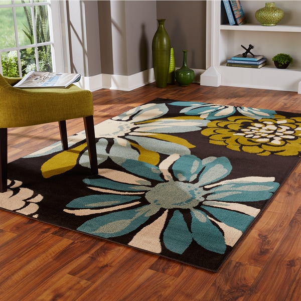 Indoor Teal/ Ivory Area Rug