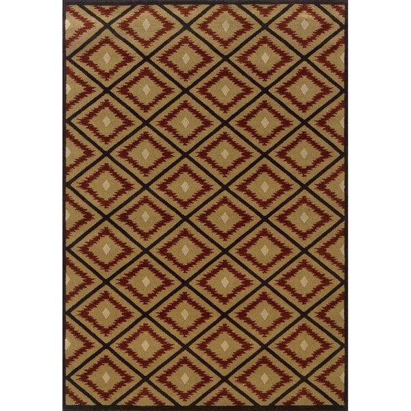 Indoor Gold/ Red Area Rug