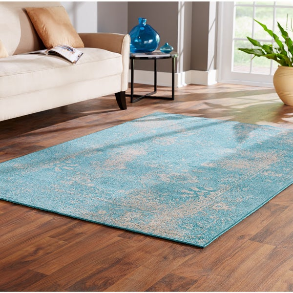 Over-dyed Distressed Traditional Teal/ Beige Area Rug (Multiple Size Options)