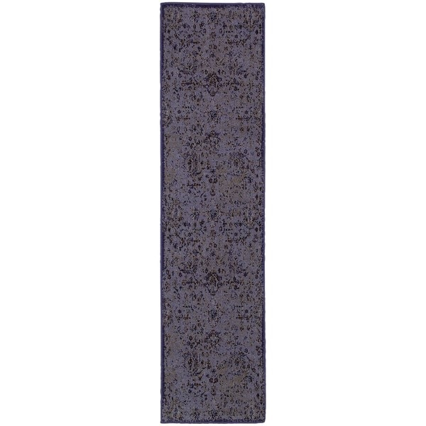 Over-dyed Distressed Traditional Purple/ Beige Area Rug (Multiple Size Options)