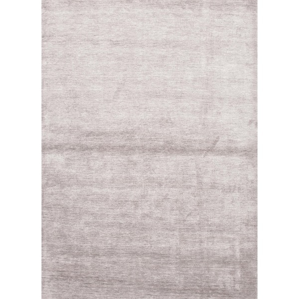 Hand-loomed Solid Gray Rayon from Bamboo Silk Rug (2' x 3')