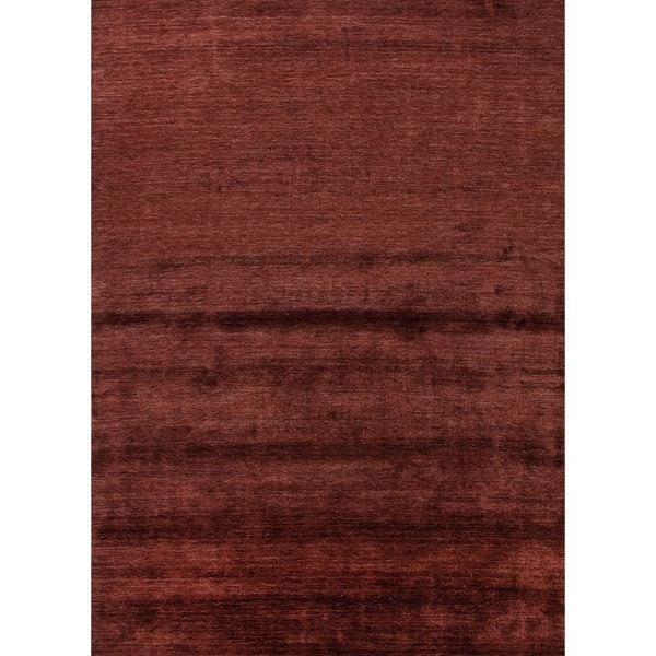 Hand-loomed Solid Red/ Orange Rayon from Bamboo Silk Rug (8' x 10')