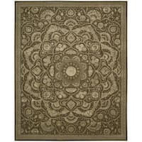 Nourison Hand-tufted Floral Regal Chocolate Wool Rug