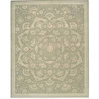 Nourison Hand-tufted Floral Regal Light Green Wool Rug