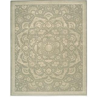 Nourison Hand-tufted Floral Regal Light Green Wool Rug