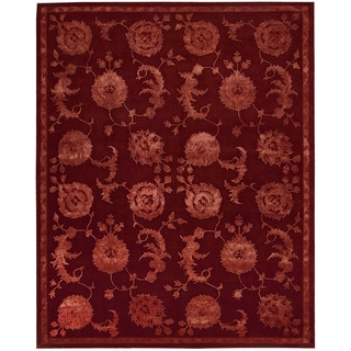 Nourison Hand-tufted Floral Regal Garnet Wool Rug