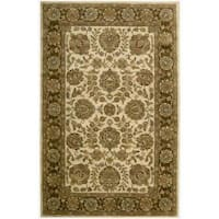 Nourison Hand-tufted Jaipur Ivory/ Brown Wool Rug