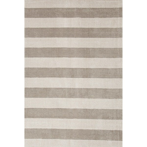 Hand-loomed Transitional Mold Gray Wool/ Silk Rug (8' x 10')
