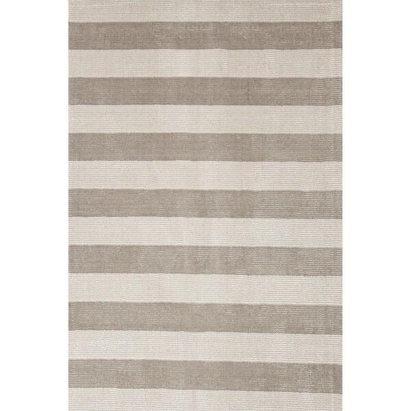Hand-loomed Transitional Mold Gray Wool/ Silk Rug (3'6 x 5'6)