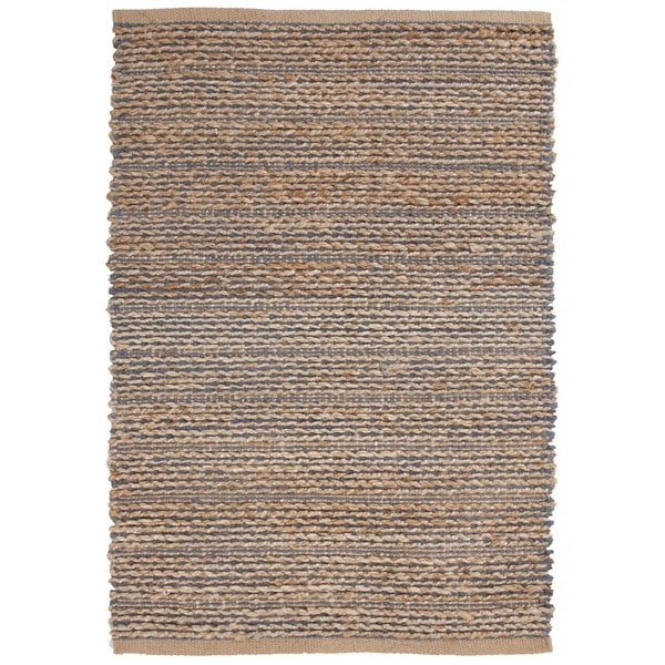 Hand-woven Blue Natural Jute/ Cotton Rug (3'6 x 5'6)