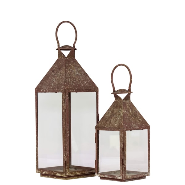 Urban Trends Collection Rustic Finished Metal Lantern (Set of 2)