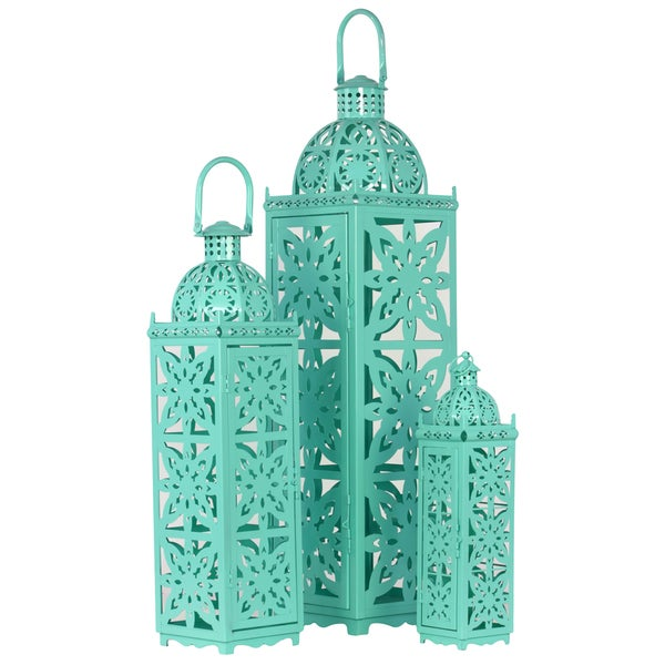 Shop Urban Trends Collection Turquoise Metal Lantern Set