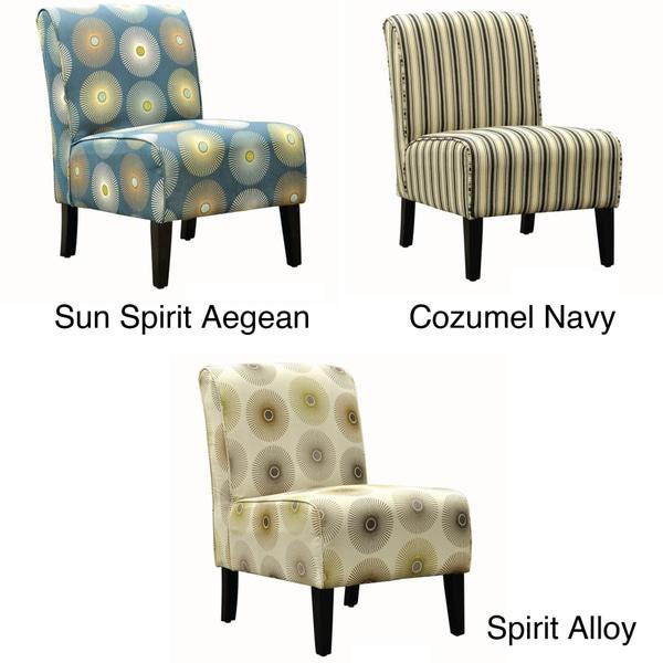 Armless Espresso Finish Linen Fabric Accent Chair