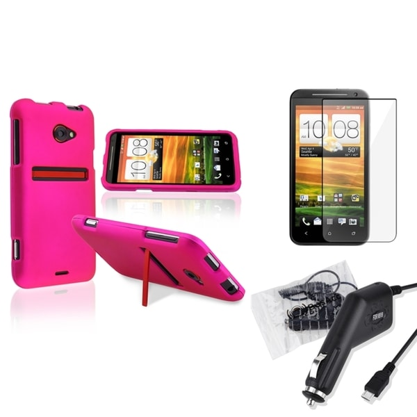 BasAcc Pink Case/ Car Charger/ Screen Protector for HTC EVO 4G LTE