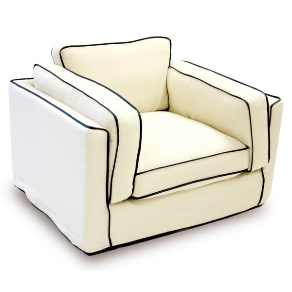 Modern Cream/ Black Slipcover Arm Chair