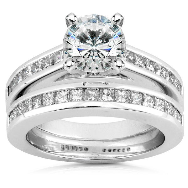 Annello by Kobelli 14k White Gold Moissanite and 1ct TDW Diamond Bridal Set (H-I, I1-I2)