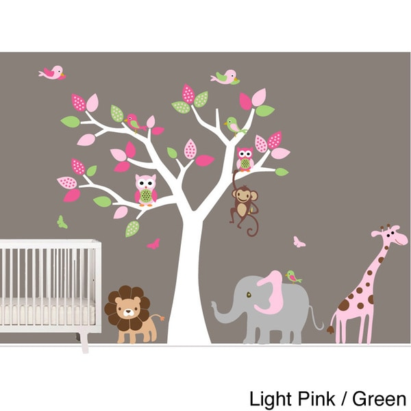 Nursery wall art girl 39 s safari tree wall decal set with birds owls and jungle animals free - Wall decor girl nursery ...